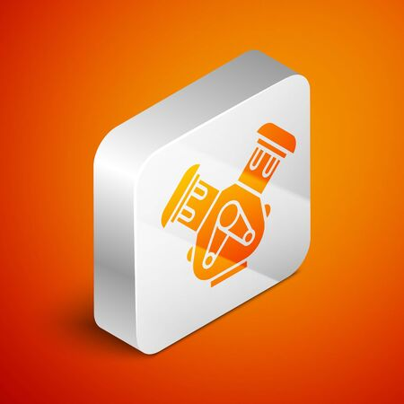Isometric Car engine icon isolated on orange background. Silver square button. Vector Illustration Ilustração