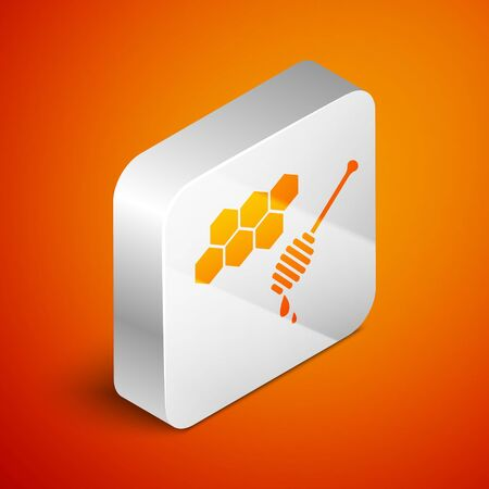 Isometric Honeycomb with honey dipper stickicon isolated on orange background. Honey ladle. Honey cells symbol. Sweet natural food. Silver square button. Vector Illustration