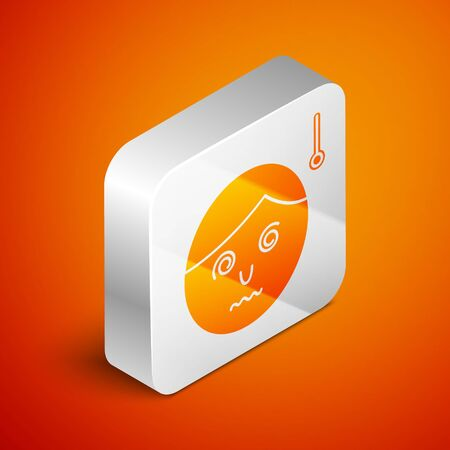 Isometric High human body temperature or get fever icon isolated on orange background. Disease, cold, flu symptom. Silver square button. Vector Illustration Ilustrace