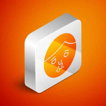 Isometric Runny nose icon isolated on orange background. Rhinitis symptoms, treatment. Nose and sneezing. Nasal diseases. Silver square button. Vector Illustration