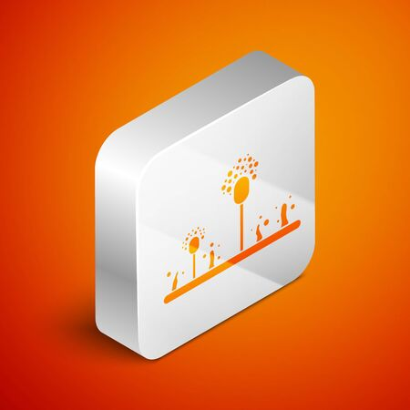 Isometric Mold icon isolated on orange background. Silver square button. Vector Illustration