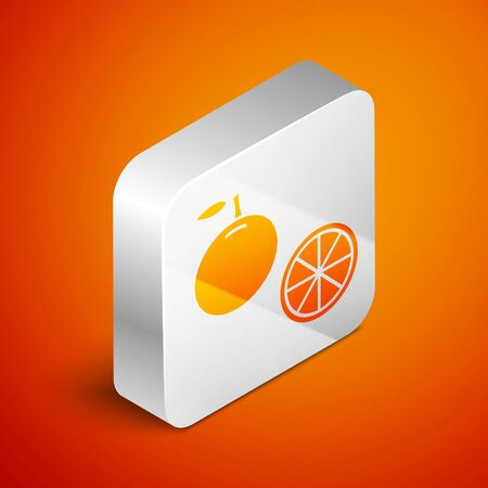Isometric Orange fruit icon isolated on orange background. Silver square button. Vector Illustration