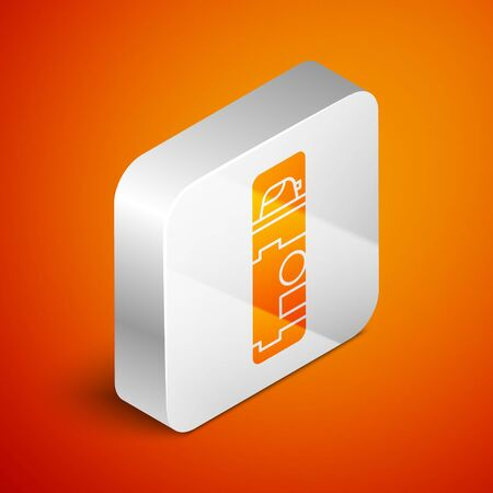 Isometric Shaving gel foam icon isolated on orange background. Shaving cream. Silver square button. Vector Illustration