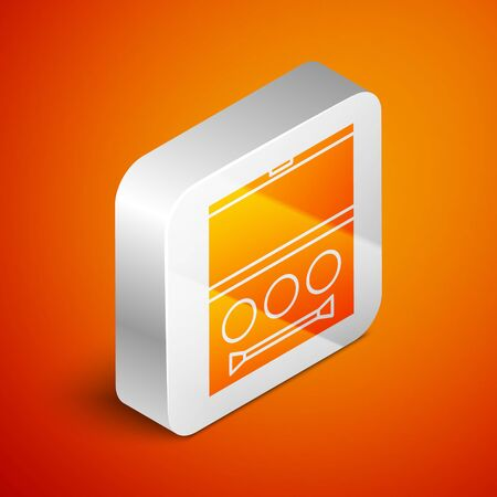 Isometric Eye shadow palette with brush icon isolated on orange background. Silver square button. Vector Illustration