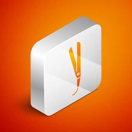 Isometric Curling iron for hair icon isolated on orange background. Hair straightener icon. Silver square button. Vector Illustration Иллюстрация