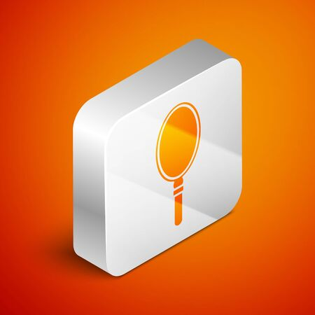 Isometric Hand mirror icon isolated on orange background. Silver square button. Vector Illustration Illustration