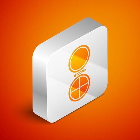 Isometric Makeup powder with mirror icon isolated on orange background. Silver square button. Vector Illustration