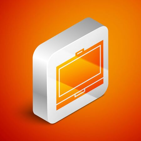 Isometric Makeup powder with mirror icon isolated on orange background. Silver square button. Vector Illustration Çizim