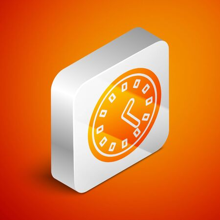 Isometric Clock icon isolated on orange background. Time symbol. Silver square button. Vector Illustration Stok Fotoğraf - 138463001