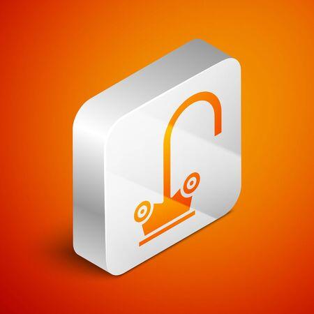 Isometric Water tap icon isolated on orange background. Silver square button. Vector Illustration Archivio Fotografico - 138463013