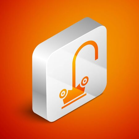 Isometric Water tap icon isolated on orange background. Silver square button. Vector Illustration Illustration