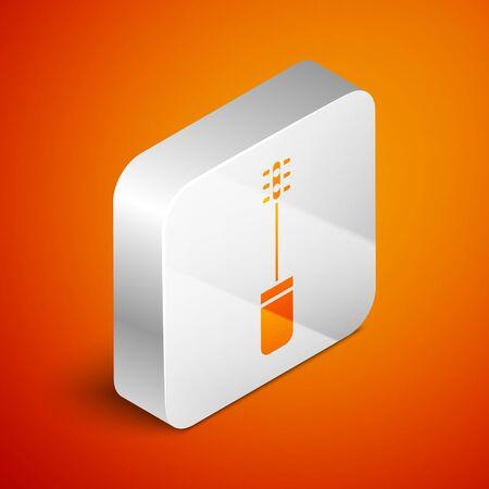 Isometric Mascara brush icon isolated on orange background. Silver square button. Vector Illustration