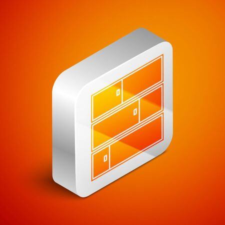 Isometric Shelf icon isolated on orange background. Shelves sign. Silver square button. Vector Illustration Ilustracja