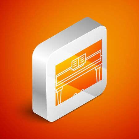 Isometric Grand piano icon isolated on orange background. Musical instrument. Silver square button. Vector Illustration Foto de archivo - 138463267
