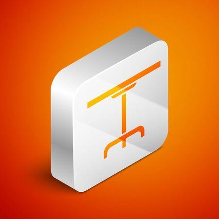 Isometric Round table icon isolated on orange background. Silver square button. Vector Illustration Archivio Fotografico - 138463058