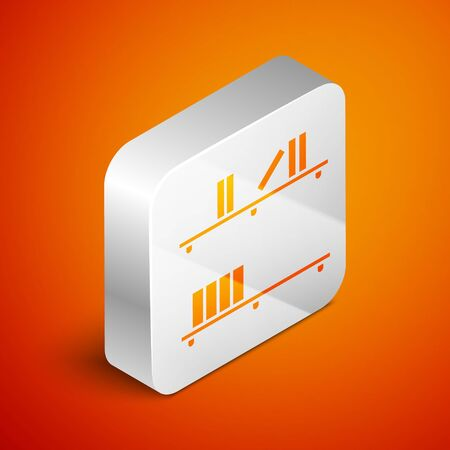 Isometric Shelf with books icon isolated on orange background. Shelves sign. Silver square button. Vector Illustration Ilustracja
