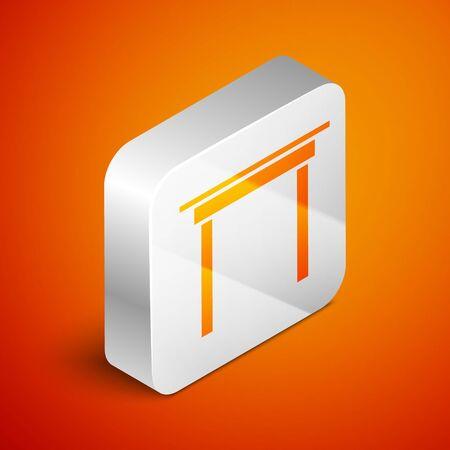 Isometric Wooden table icon isolated on orange background. Silver square button. Vector Illustration Archivio Fotografico - 138463286