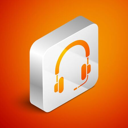 Isometric Headphones icon isolated on orange background. Earphones. Concept for listening to music, service, communication and operator. Silver square button. Vector Illustration Foto de archivo - 138463293