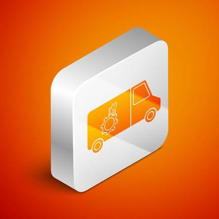 Isometric Car service icon isolated on orange background. Repair service auto mechanic. Maintenance sign. Silver square button. Vector Illustration Standard-Bild - 138444718