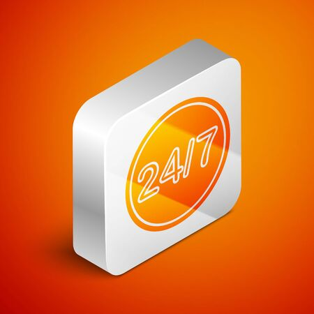 Isometric Clock 24 hours icon isolated on orange background. All day cyclic icon. 24 hours service symbol. Silver square button. Vector Illustration Çizim