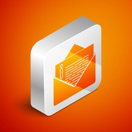 Isometric Envelope icon isolated on orange background. Email message letter symbol. Silver square button. Vector Illustration