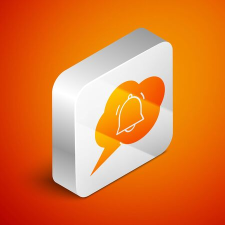 Isometric Speech bubble with chat notification icon isolated on orange background. New message, dialog, chat, social network notification. Silver square button. Vector Illustration