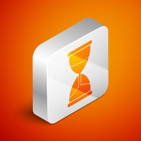 Isometric Old hourglass with flowing sand icon isolated on orange background. Sand clock sign. Business and time management concept. Silver square button. Vector Illustration