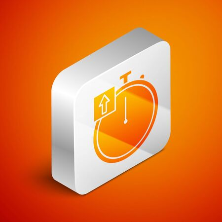 Isometric Stopwatch icon isolated on orange background. Time timer sign. Chronometer sign. Silver square button. Vector Illustration Stok Fotoğraf - 138463330