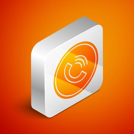 Isometric Phone call icon isolated on orange background. Silver square button. Vector Illustration Illustration