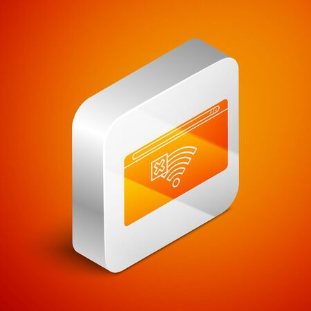 Isometric No Internet connection icon isolated on orange background. No wireless wifi or sign for remote internet access. Silver square button. Vector Illustration