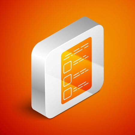 Isometric Create account screen on mobile phone icon isolated on orange background. Silver square button. Vector Illustration