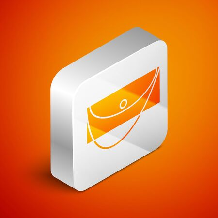 Isometric Clutch bag icon isolated on orange background. Women clutch purse. Silver square button. Vector Illustration