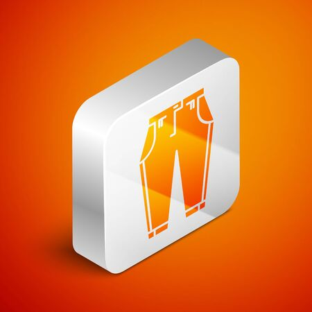 Isometric Pants icon isolated on orange background. Silver square button. Vector Illustration