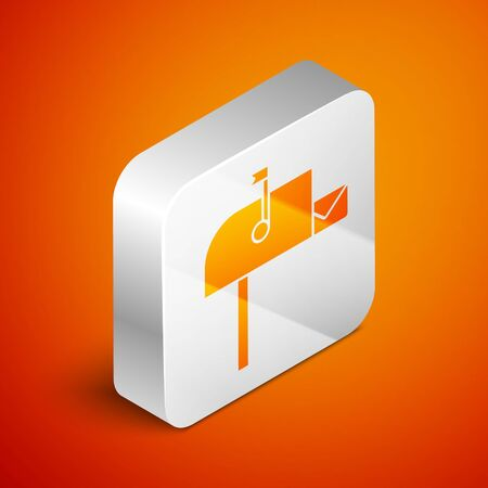 Isometric Open mail box icon isolated on orange background. Mailbox icon. Mail postbox on pole with flag. Silver square button. Vector Illustration