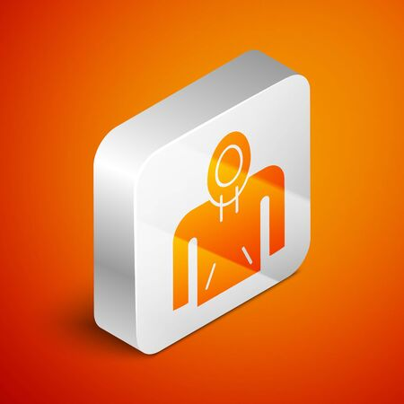 Isometric Hoodie icon isolated on orange background. Hooded sweatshirt. Silver square button. Vector Illustration 일러스트
