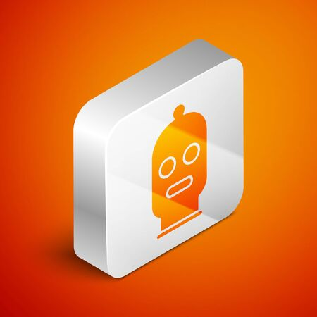 Isometric Balaclava icon isolated on orange background. A piece of clothing for winter sports or a mask for a criminal or a thief. Silver square button. Vector Illustration