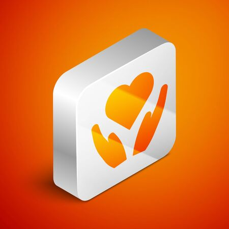 Isometric Heart on hand icon isolated on orange background. Hand giving love symbol. Valentines day symbol. Silver square button. Vector Illustration Ilustrace