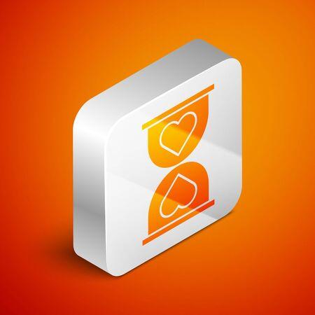 Isometric Heart in the center old hourglass icon isolated on orange background. Valentines day. Silver square button. Vector Illustration