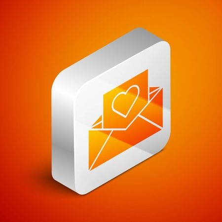 Isometric Envelope with Valentine heart icon isolated on orange background. Message love. Letter love and romance. Silver square button. Vector Illustration 일러스트