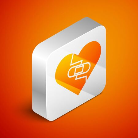 Isometric Healed broken heart or divorce icon isolated on orange background. Shattered and patched heart. Love symbol. Valentines day. Silver square button. Vector Illustration