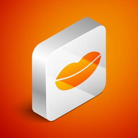Isometric Smiling lips icon isolated on orange background. Smile symbol. Silver square button. Vector Illustration