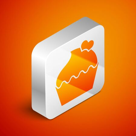 Isometric Wedding cake with heart icon isolated on orange background. Valentines day symbol. Silver square button. Vector Illustration