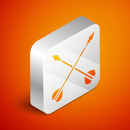 Isometric Medieval crossed arrows icon isolated on orange background. Medieval weapon. Silver square button. Vector Illustration Vektorové ilustrace