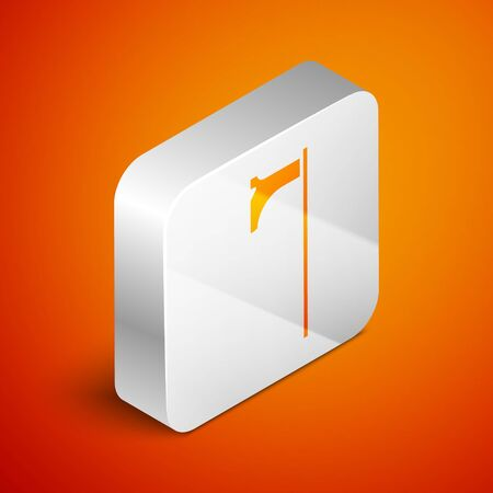 Isometric Medieval axe icon isolated on orange background. Battle axe, executioner axe. Medieval weapon. Silver square button. Vector Illustration