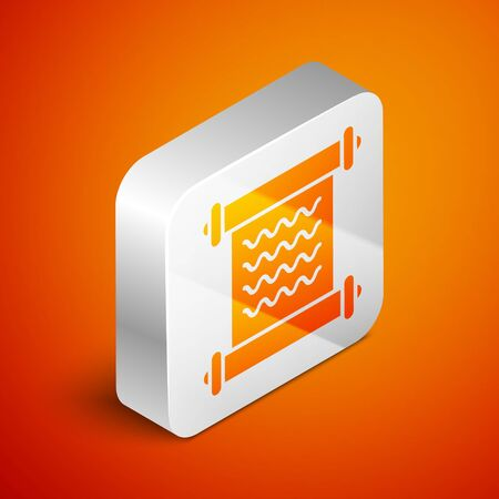 Isometric Decree, paper, parchment, scroll icon icon isolated on orange background. Silver square button. Vector Illustration