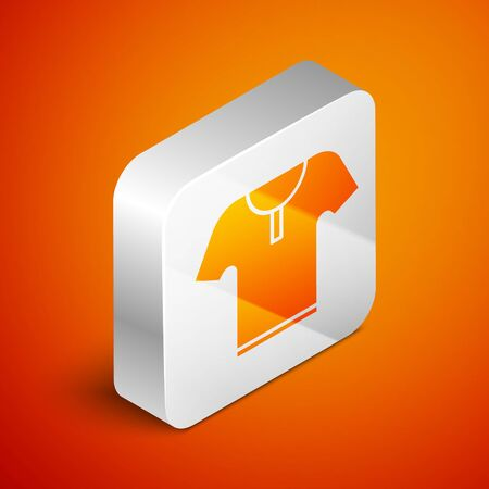 Isometric Body armor icon isolated on orange background. Silver square button. Vector Illustration