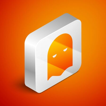 Isometric Executioner mask icon isolated on orange background. Hangman, torturer, executor, tormentor, butcher, headsman icon. Silver square button. Vector Illustration