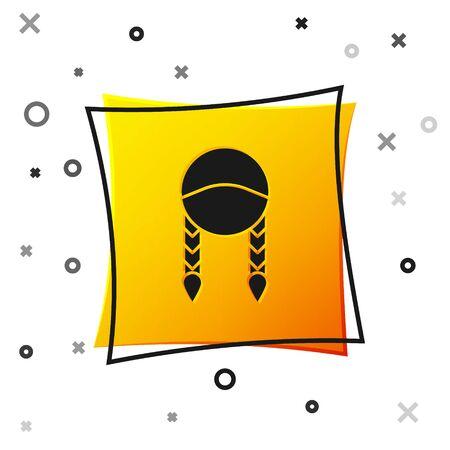 Black Braid icon isolated on white background. Yellow square button. Vector Illustration Ilustração