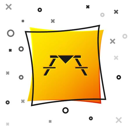 Black Picnic table with benches on either side of the table icon isolated on white background. Yellow square button. Vector Illustration
