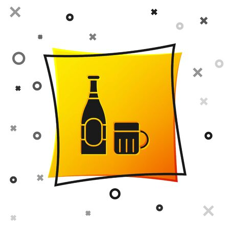 Black Beer bottle and glass icon isolated on white background. Alcohol Drink symbol. Yellow square button. Vector Illustration